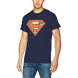 DC Comics Dc Originals Superman Shield Crackle Logo, Camiseta para Hombre, Multicolor (Navy), XX-Large