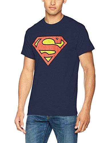 DC Universe Herren T-Shirt Dc Originals Superman Shield Crackle Logo Multicoloured (Navy)