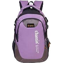 Mochila De Nylon Unisexo Mochila Bolsa Para Ir De Excursión Escalada De Camping (Púrpura)