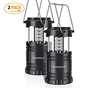 [2 PACK] Camping Lantern- Sahara Sailor Ultra Bright LED Lantern- Collapses – Suitable for: Hiking, Camping, Emergencies, Hurricanes, Outages – Super Bright – Lightweight – Water Resistant