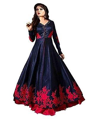 Varudi Fashion Women's Embroidered Semi Stitched Anarkali Gown (rr1_Blue_Freesize)