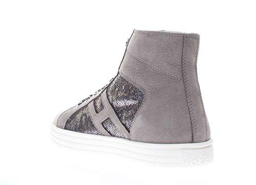 Hogan Rebel Donna Sneaker HXW1410P990FJC153H Sneaker r141 laterale paillettes Grigio chiaro