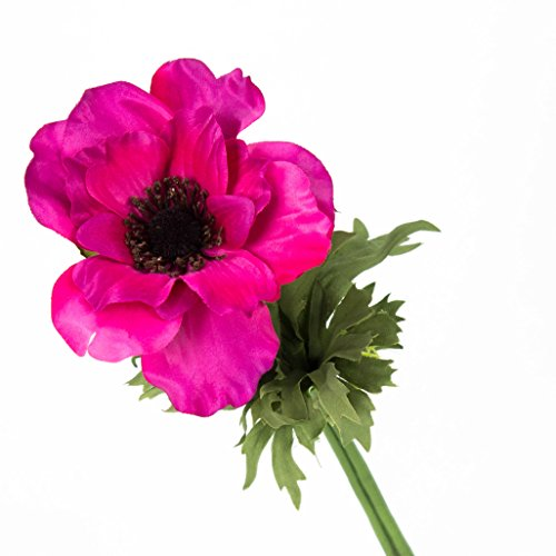 artplants Set 12 x Künstliche Anemone, Cerise, 35 cm, Ø 9 cm – Kunstblume/Dekoblume