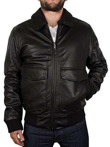 Levis Herren Leather Flight Jacket, Schwarz, Small
