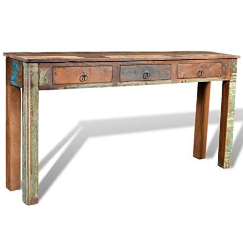 Anself Konsolentisch Beistelltisch Tisch aus Massivholz mit 3 Schubladen 150 x 30 x 75 cm