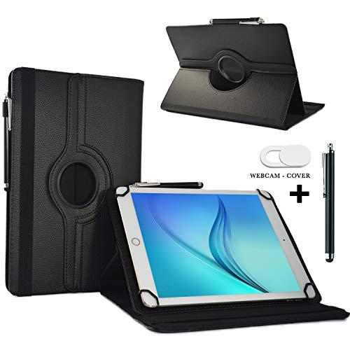 Tablet Schutzhülle 10.1 Zoll für Blaupunkt Endeavour 101G Hülle Etui Case mit Touch Pen und Webcam-Abdeckung- Schwarz 3in1