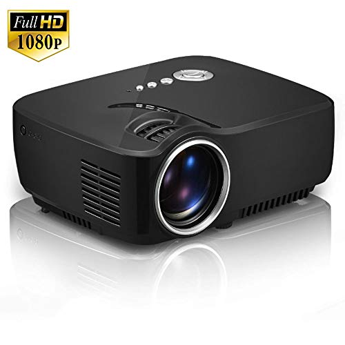 Projektor, tragbarer Mini-LED-Kino-Videoprojektor für digitales HD-Heimkino Beamer Proyector, LED-Projektor mit max. 150 Zoll, Unterstützung 1080P mit HDMI- / USB- / SD- / AV- / VGA-Eingang