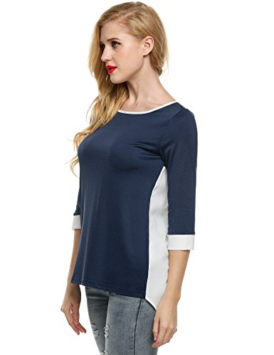 ZEARO Damen Übergröße Shirt mit 3/4 Ärmel Casual Tops Irreguläre Lang Blusen mit Patchwork Blau
