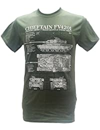 The Wooden Model Company Ltd Chieftain British Army Tanks - Military T Shirt With Blueprint Design