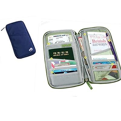 EQLEF® Viaje del pasaporte del recorrido de crédito de tarjetas de identificación automático titular caso monedero de la cartera con cremallera Documento Bag (Azul marino)
