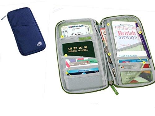 EQLEF® Travel Trip Pass-Gutschrift Identifikation-Karten-Bargeld Reißverschlussgeldbörse Inhaber Fall Document Bag (Marine-Blau) (Geldbörse Inhaber Fall)