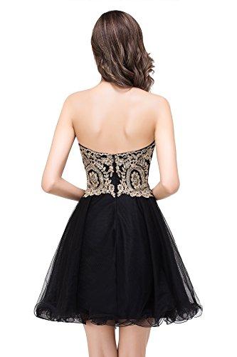 Babyonlinedress Femme Elegant Sexy Robe de Soirée/Cocktail/Cérémonie Courte sans Manches Col Cœur avec Cristal Appliques en Tulle Noir2