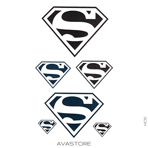 AVASTORE Superman Temporäre Tattoo, Superman-Motiv, temporäres Tattoo