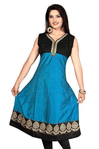 plian extra fancy blue Cotton Silk Long Anarkali Long Kurtis (Size