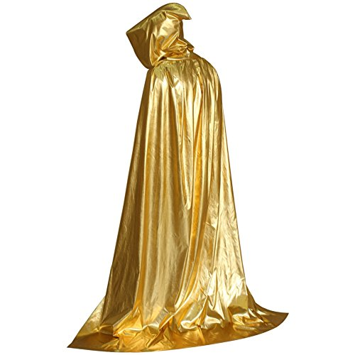 (Yalatan Herren Damen Halloween Kostüme Tod Mit Kapuze Mantel Teufel Party Cosplay Robe Capes Gold)