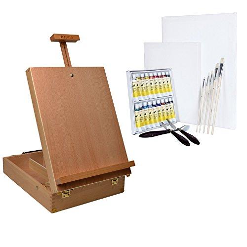 Artina 29 tlg. Malset Koffer-Staffelei Nancy aus Buche, 18 Acrylfarben, 2 Leinwänden, 5 Pinsel und 3 Malmessern