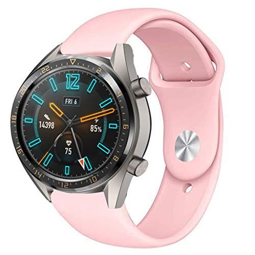 Preisvergleich Produktbild Feitb Silikonband Sport Ersatzarmband, Handschlaufe, hautfreundliches,  weiches, für Damen,  Herren,  Mädchen, Uhrenarmband für Huawei Uhr GT Smart Watch 22mm (rosa)