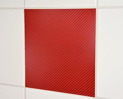 10-pezzi-carbon-look-adesivi-per-piastrelle-25x33cm-rosso