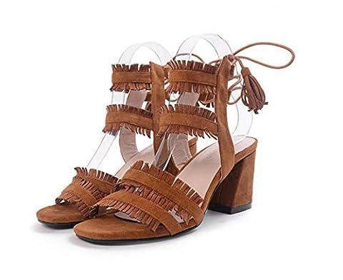 Gland Cross Band Lacer Open Toe Style romain Talon haut Sandale pour femmes Chaussures de cour , brown , 39