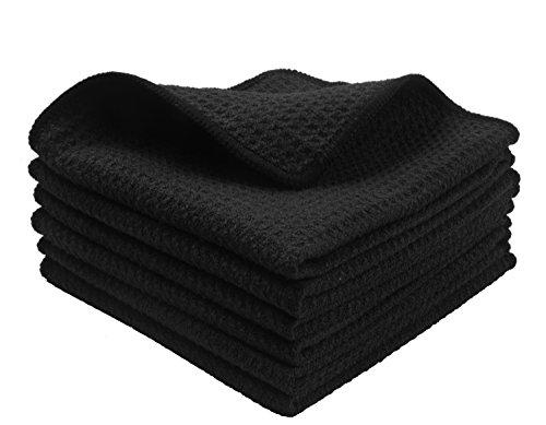 KinHwa Mikrofaser-Reinigungstücher Super Weiche Reinigungstücher Waschbar Saugstark Umweltfreundlich Reißfest Mikrofasertücher 30cm x 30cm 6 Stück Schwarz