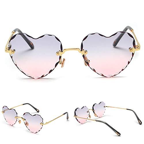 Delilya Modische Retro-Sonnenbrille Vintage Heart Shaped UV400 Sonnenbrille Farbverlauf Gläser für Frauen Damen Pink,Gold