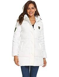 c7172881e3f Zeagoo Mujer Abrigo Acolchado Impermeable Invierno Apliques Ultra-Caliente  Chaqueta con Capucha
