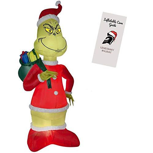 asbare Weihnachtsdekoration - Grinch stiehlt Weihnachten im Weihnachtsmannanzug mit Geschenksäckchen 244 cm hoch mit aufblasbarer Pflegeanleitung (in englischer Sprache) ()