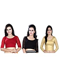Fressia Fabrics Women's Stretchable Readymade Saree Blouse Crop Top Choli Pack of 3