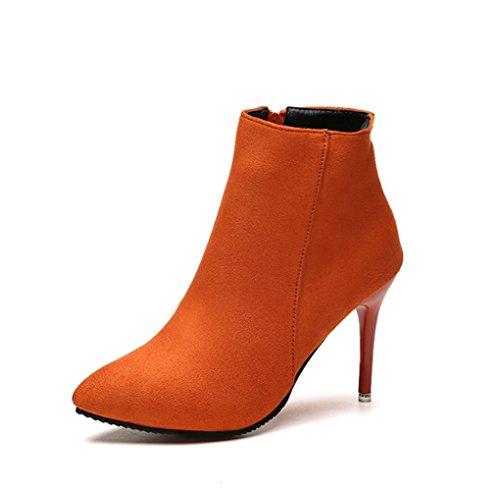 Herbst und Winter Wies Dünne Hohe Ferse Kurze Stiefel Seite Reißverschluss Halten Warme MS Leder Stiefel (Farbe : Orange, Größe : 38) (Lederstiefel Hohe Ferse)