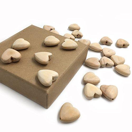 Coskiss 50pcs Naturale di legno Teether 20 millimetri (0,79 '') Unfinished cuori di legno con cuore di legno fori naturale cade cuore pendente DIY bambino Teether Accessori (colore 12)