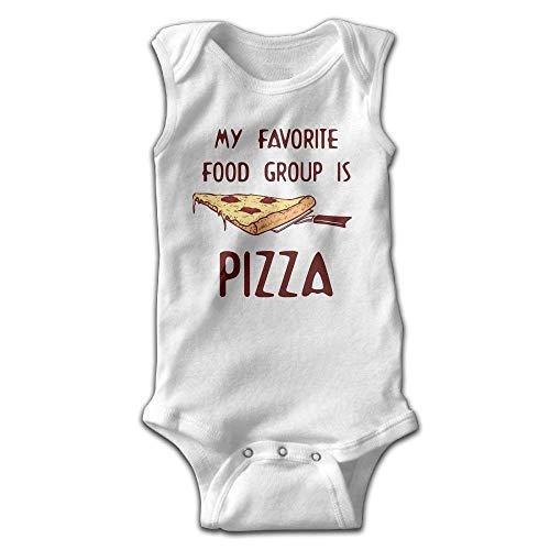 xcvgcxcvasda Ärmelloser Strampler für Babys My Favorite Food Group is Pizza Baby Sleeveless Romper Bodysuit Jumpsuit Cotton Comfortable Cute Pattern Favorite Short-sleeve Bodysuit