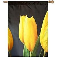 Kotdeqay Vintage Oil Painting Sunset Lavender Floral Flowers Garden Yard Flag Banner for Outside House Flower 40 x 28 Inch G12