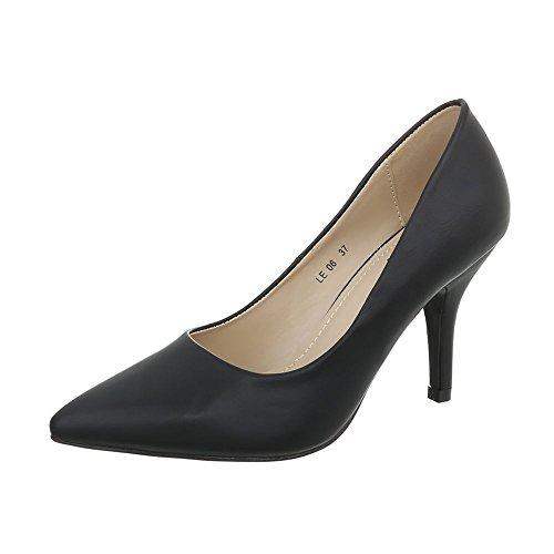 Ital-Design High Heel Pumps Damen-Schuhe High Heel Pumps Pfennig-/Stilettoabsatz High Heels Pumps Schwarz, Gr 37, Le06-