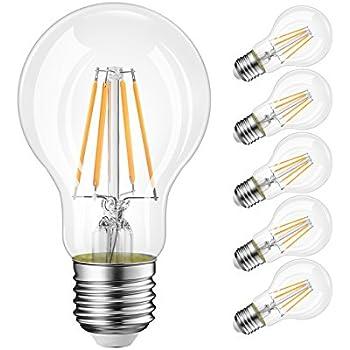 LVWIT Bombillas de Filamento LED E27 (Casquillo Gordo) - 8W equivalente a 60W, 806 lúmenes, Color blanco cálido 2700K. Bombilla retro vintage, No regulable ...