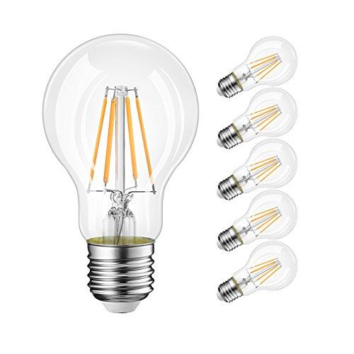 LVWIT Lampadina Filamento LED E27, 8W Equivalenti a 60W, Luce Bianca Calda 2700K, 800Lm, Stile Vintage, Confezione da 6 Pezzi