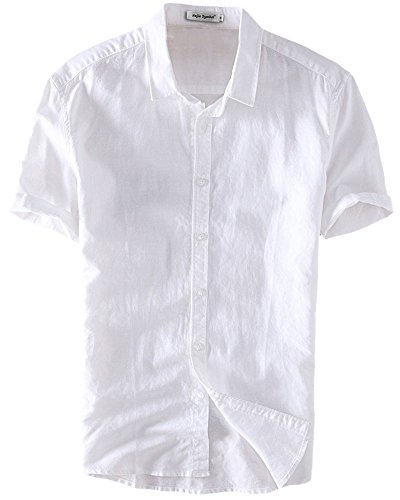 Najia Symbol Mens Casual Linen & Cotton Comfort Short Sleeve Button Up Shirts