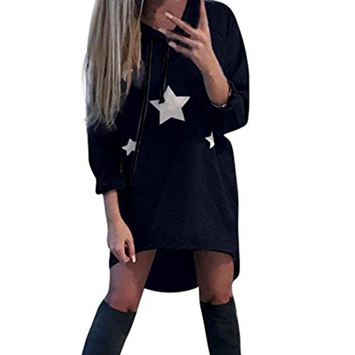 Sweatshirt Damen Sunday Pentagramm Gedruckt Kleid Hoodies Sterne Gedruckt Mini Kleid Freizeit Kapuzepullover (Blau, S) (Tee Womens Floral)