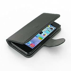 Pdair Etui pour Apple iPhone 5S fait à la main en cuir protecteur Livre Housse avec clip ceinture - Noir