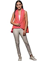 PINK FLIP JACKET Without Sleeves, Material- Silk, Color- Pink.