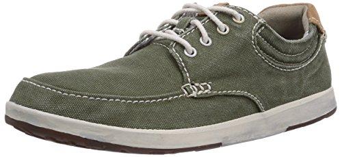 Clarks Norwin Vibe, Low-Top Sneaker uomo, Verde (Grün (Dark Green Canvas)), 43