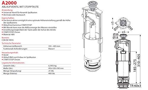 Spülgarnitur Keramik Spülkasten Ablaufventil mit Stopfunktion Spülung Heberglocke für WC