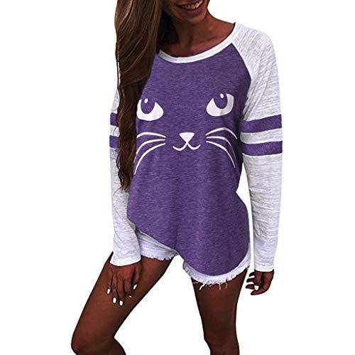 new arrivals 6554d 21ba6 JUTOO 2019 Womens Spring Cute Cat Print Tops Long Sleeve T-Shirts Top Blouse