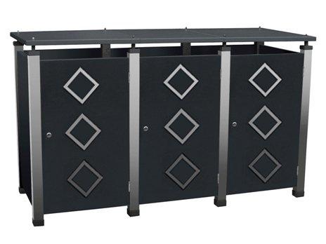 Mülltonnenbox Metall, Modell Pacco E Quad18 für drei 120 ltr. Tonnen
