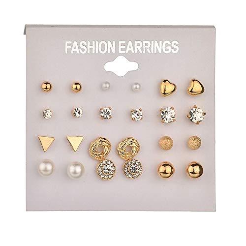 Yvelands Mode Ohrringe Ohrring Set Kombination von 12 Sets von herzförmigen ()