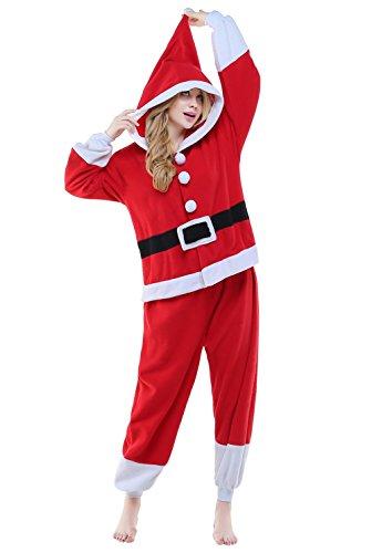 Girl Claus Santa Kostüm - Canasour Pyjamas Kostüm Jumpsuit Tier Schlafanzug Erwachsene Unisex Fasching Cosplay Karneval (XL, Santa Claus)