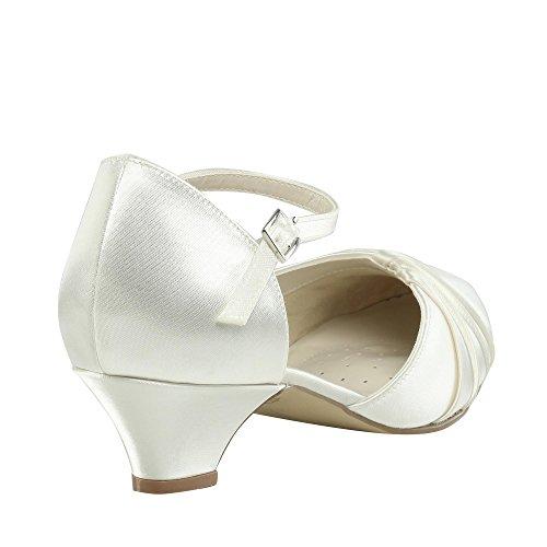 Paradox London Pink Ivory Satin Chaussures De Mariage À Talons Bas Protea Ivoire