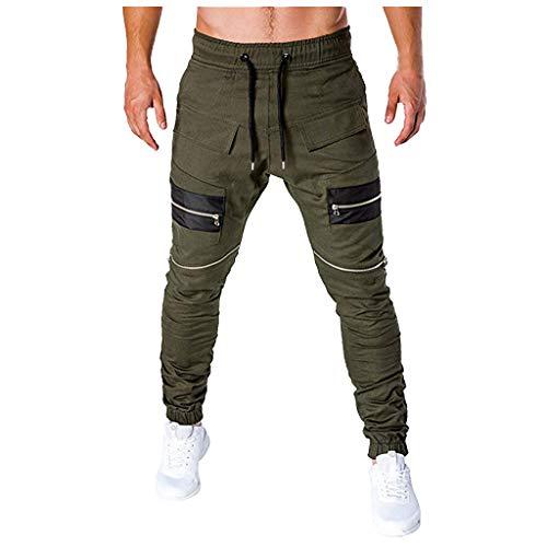 Sport Reißverschluss männer Patchwork lose Jogginghose peitscht Drawstring Hose Fashion Casual Pocket Stitching Zipper String Sports Trousers Grün Marine M/L/XL/XXL/3xL