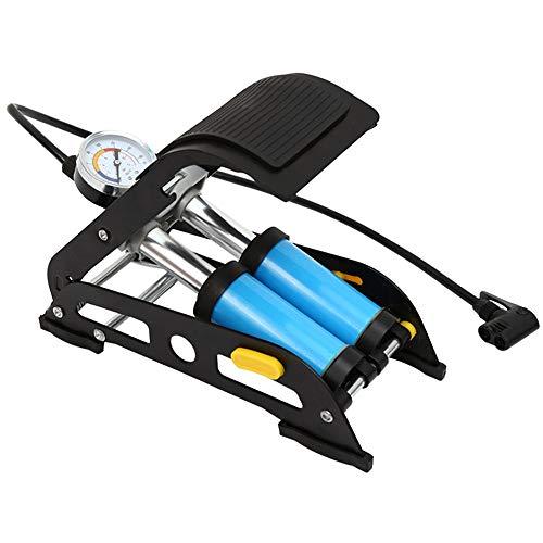 PGPUM Hochdruck-Fußpumpe mit Standpumpe für Fahrräder, passend für Schader- und Presta-Ventiltypen Mini Fahrradreifenpumpe (Farbe : Blau, Größe : 29.3 * 12.5cm)