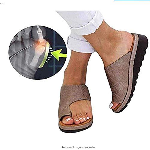 Künstliche PU orthopädische Schuhe Bunion Concealer Bequeme Keil Plattform lässig Damen Finger Fettkorrektur Sandalen,4,40