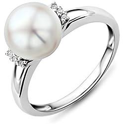 Miore MG9006RP - Anillo de mujer de oro blanco (9k) con 6 diamantes y perla cultivada de agua dulce (1 perla) (talla: 16)